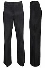 LADIES GIRLS BLACK TAILORED PINSTRIPE TROUSERS QUALITY WORK STRAIGHT LEG PANTS.