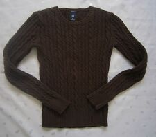 GAP WOMEN CREW NECK CABLE KNIT STRETCH PULLOVER SWEATER - SIZE XS - BROWN - EUC