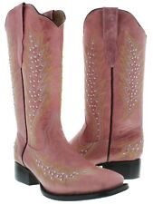pink silver studs leather cowboy cowgirl western rodeo boots stitch square