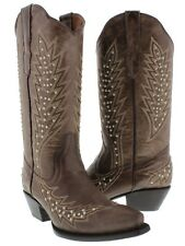 Brown Silver Studs Leather Cowboy Cowgirl Western Rodeo Boots Embroidered Ranch