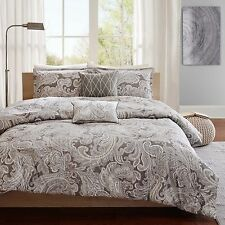 ELEGANT CLASSIC GREY BROWN PAISLEY 5-PC COMFORTER SET KING CAL KING FULL/QUEEN