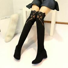New Fashion Lace Over the Knee High Heels Boots For Woman Plus size 35-43