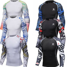Mens Compression Tops Workout Sports T-shirts Running Jogging Tights Long Sleeve