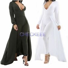Womens Ladies V Neck Soild  Long Sleeve Dress Jumpsuit Bodycon Pants Leg Dress