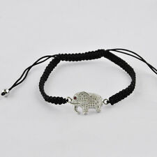 Elephant Micro Pave Beads Copper Braided Adjustable Bracelet Unisex Jewelry