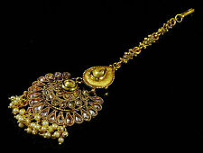 Goldtone Ethnic Indian Maang Tikka Traditional Forehead Jewelry-BMT130-PAR