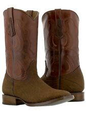 mens cognac brown buffalo bull bison square leather western cowboy boots exotic