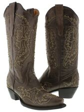 Womens Brown Gold Studded Stitched Leather Western Cowboy Boots Snip Toe