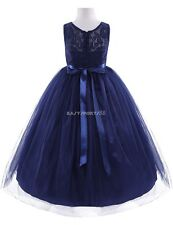 Girl Navy Blue Tulle Flower Dress Princess Pageant Wedding Bridesmaid Party
