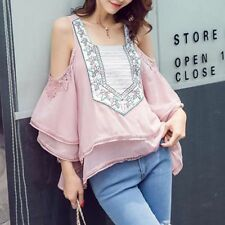 FASHION Women Ladies Embroidery Lace Chiffon Cold Shoulder Top Shirt Blouse