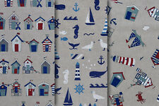 Seaside, Nautical & Beach Huts - Quality Upholstery, Curtain, Cotton Fabric
