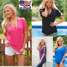 Casual Womens Summer Off Shoulder T Shirt ladys tops short sleeves Plus Size