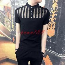 Mens Striped Slim fit T Shirts Casual Button-Front Basic tops short sleeve shirt