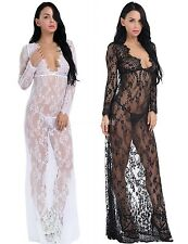 Women Sexy Floral  lace see through maxi long dress lingerie sleeprobe nightgown