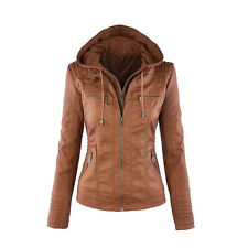 2017 Womens Leather Hooded Jacket Slim Motorcycle Parka Coat Overcoat Outwear