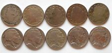 10 COIN COLLECTION 5 LIBERTY V NICKELS & 5 FULL DATE BUFFALO NICKELS US 5 CENTS