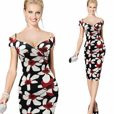 Office Women Business Floral Pencil Dress Ladys Sexy Bodycon Evening Party Dress