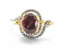 925 Sterling Silver Ring with Oval Cut Natural Red Garnet Gemstone Handcrafted.