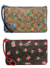 NWT Coach Large Wristlet Floral Logo Coated Canvas 56505 Khaki Blue Brown Red