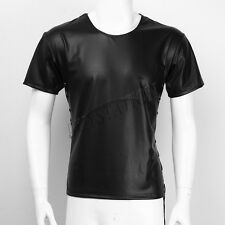 Men Lingerie Slim Patent Leather Lace-up Short Sleeve Top T-shirt Tee Tops Shirt