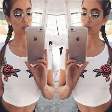 Summer Women Fashion Loose Bare midriff Sleeve embroideried T-Shirt Blouse Top