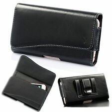 Luxmo Horizontal Leather Holster Belt Clip Case Pouch For Large Cell Phone 5.5''