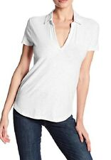 James Perse Women's Standard White Curve Hem Polo Tee T Shirt SZ 2 / M & 4 / XL