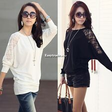 New Women Casual Loose Batwing Sleeve Dolman Lace Sexy T-Shirt Blouse Shirt01
