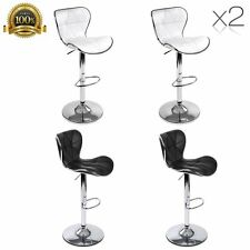 2x PU Leather Padded Seat Kitchen Bar Stools Dining Chair Gas Lift White / Black