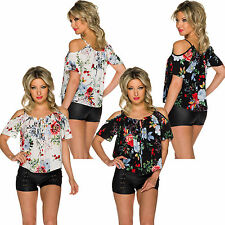 Tunic Blouse Top Shirt Flowers Boho Cut out Shoulder Party Club Office S 34 36