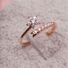 Row Drilling Rhinestone Flower Opening Adjustable Finger Ring Tail Ring