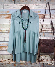 Western Embroidered Eyelet Button Down Top Shirt Blouse Boho Cowgirl Cotton NEW