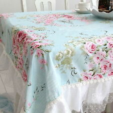 French Country Cottage Shabby Chic Floral Rose Blue Pink Table Cloth QW