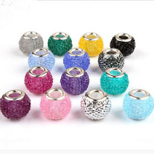 Fashion Round Rhinestone Resin Silver Core DIY Bead fit European Charm Bracelet