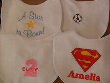 Personalised embroidered Baby bib vest babygrow sets 4 design any colour/name