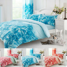 Duvet Cover Set With Pillow Case Bedding Size Single Double Super King & Curtain