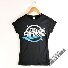 Womens THE STROKES T-shirt RETRO album logo print - indie rock music band NEW