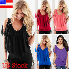 Womens Cold Shoulder Short Sleeve Chiffon Top Casual Party Blouse T Shirt