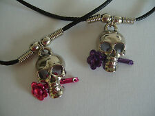 """SKULL WITH FLOWER NECKLACE / PENDANT WITH 18"""" BLACK CORD"""