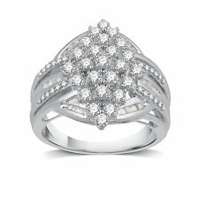 DeCarat 1 CT.T.W. Diamond Sterling SIlver Marquise-Shape Cocktail Cluster Ring