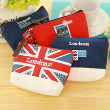 Beautiful London Canvas Coin Purse Portable Mini Wallet Purse Zip Coin Money Bag