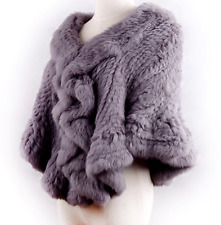 100% Real Hand Knitted Rabbit Fur Cape Poncho Stole Shawl Coat Scarf Belle Party
