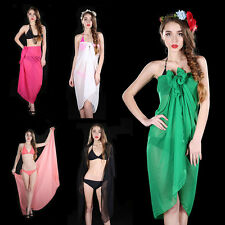Women Swimwear Wrap Bikini Cover Up Solid Sexy Sarong Beach Swimsuit Sheer Pareo
