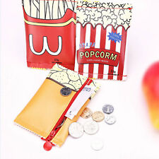 Popcorn Women Girl PU Coin Purse Portable Mini Wallet Purse Zip Coin Money Bag