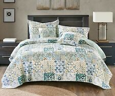 Blue Green Watercolor Spring Time Patchwork Quilted Coverlet Quilt Bedspread Set