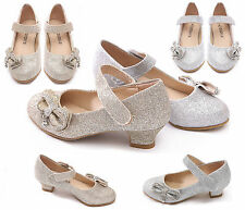 GIRLS KIDS CHILDREN LOW HEEL PARTY MARY JANE VELCRO DIAMANTE SANDALS SHOES SIZE