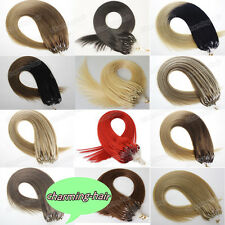 Silicone Micro Ring Beads Loop Tip INDIAN Remy Human Hair Extensions Top 8A 1G/S