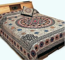 Celtic Sunflower Circle Knot Mandala Twin Full Size Bedding Bedspread Tapestry