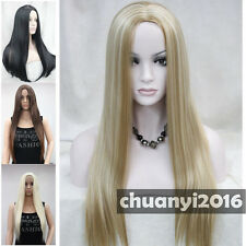4 colors Middle Part Long Straight Women Natural Daily wig + free wig cap