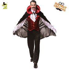 Adult Mens' Gothic Vampire Costume Halloween Fancy Dress Party Clothing